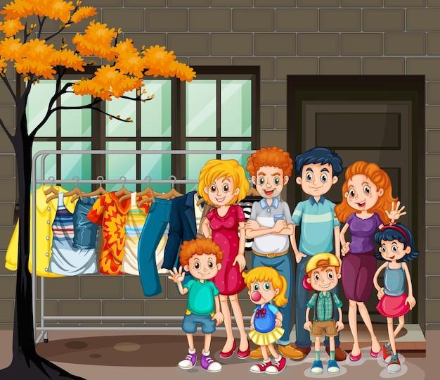 リビング ルームのシーンで幸せな家族