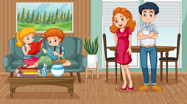 거실 장면에서 행복한 가족