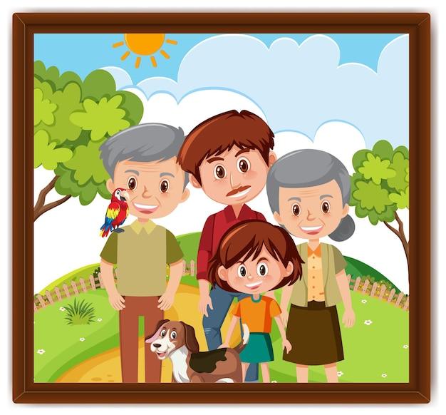 フレーム内の公園のシーンの写真で幸せな家族