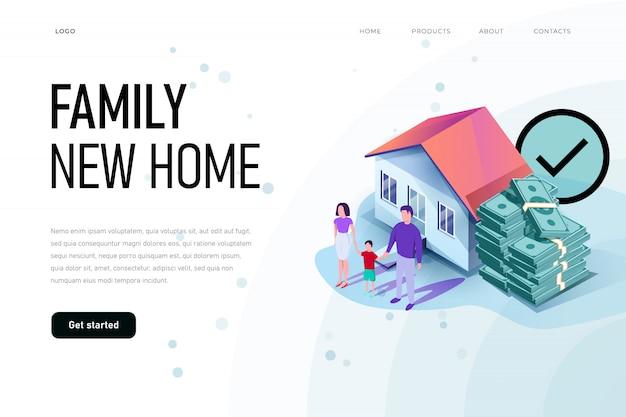 幸せな家族が彼らの新しい家の周りにいます。家族の新しい家のイラストのコンセプトです。等角投影図