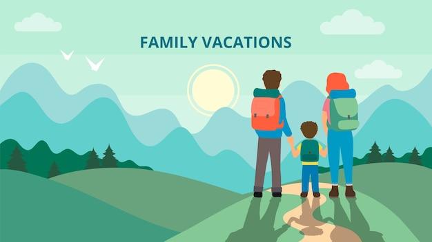 Счастливая семья гуляет по горам. отец, мать и дети едут по горам. поход на природу. плоский стиль. векторная иллюстрация.