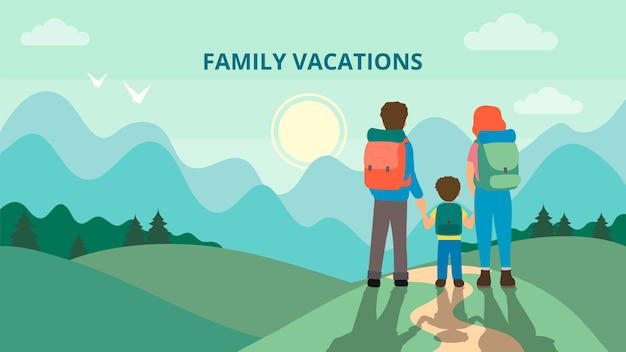 Happy family is hiking in the mountains. father, mother and children are traveling through the mountains. trekking to the nature. flat style. vector illustration.