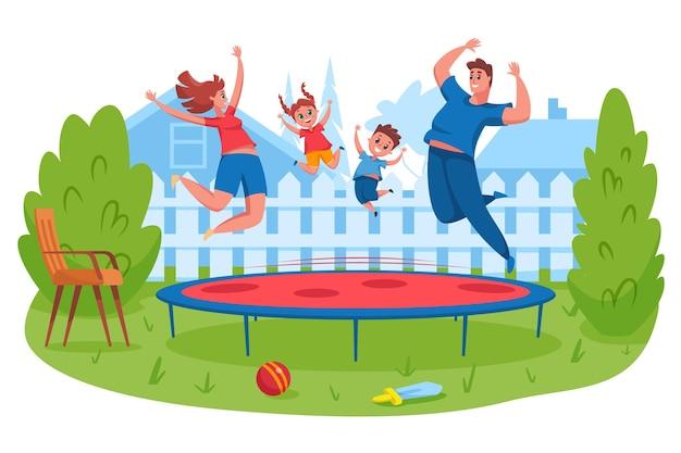 Счастливая семья прыгает на батуте. мать и отец подпрыгивают вместе с детьми