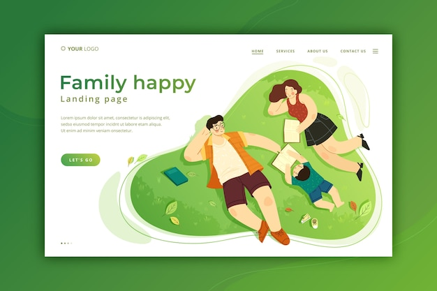 Happy family landing page template