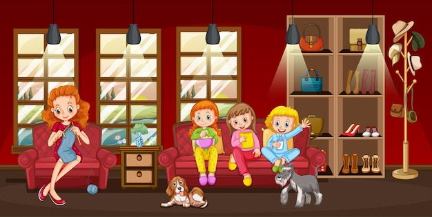 Happy family in the living room scene illustration