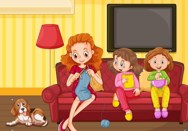 Famiglia felice nella scena del soggiorno