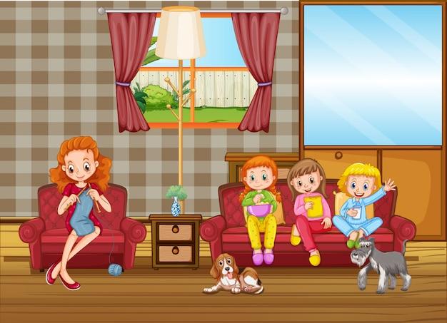 Famiglia felice in salotto