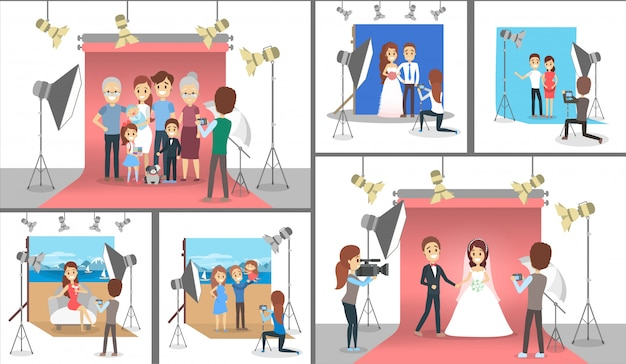 幸せな家族の写真撮影セットを作る。