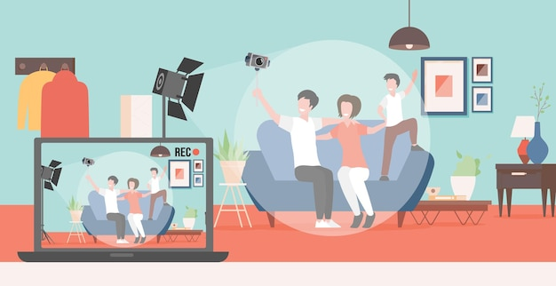 Happy family making video blog about their life vector flat