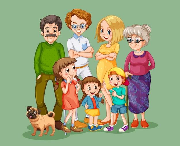 幸せな家族の漫画のキャラクター