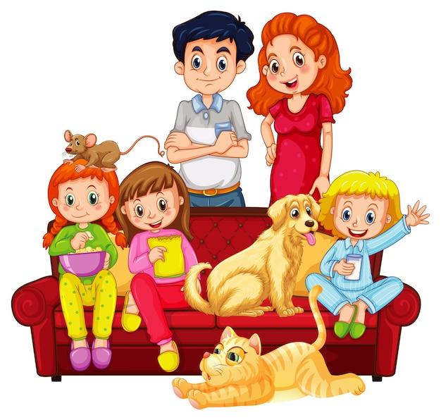 Счастливые члены семьи и домашние животные