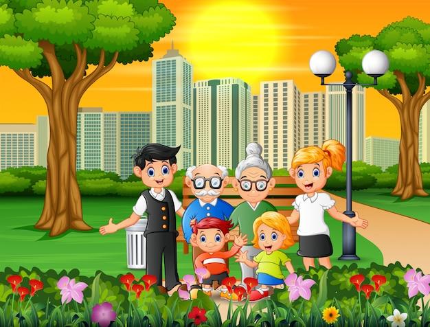 도시 공원에서 행복한 가족