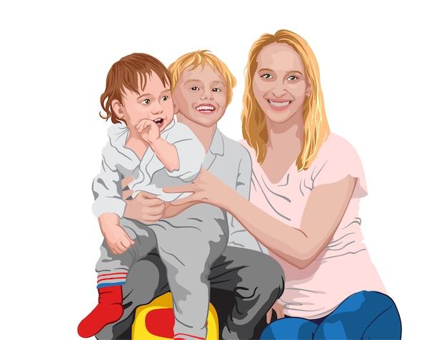 幸せな家族。 2人の息子を抱きしめるお母さん。子供と母親の笑顔