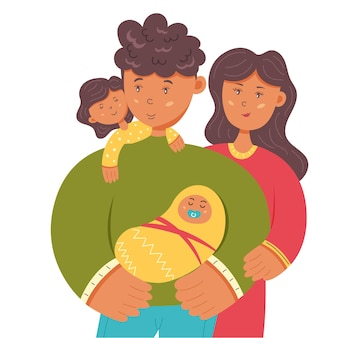 Happy family mom dad daughter and baby. family, father, and mother's day. vector character illustration
