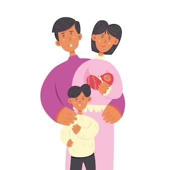 幸せな家族のお母さんお父さんの息子と赤ちゃん。家族、父、そして母の日。ベクトル文字イラスト