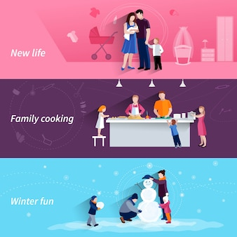 Happy family moments 3 flat banners set with cooking and making snowman together abstract isolated vector illustration