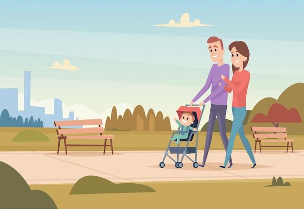 幸せな家族。子供を持つ母親と父親は、家族のカップルが屋外で遊ぶ子供の男の子と女の子のベクトル文字が大好き