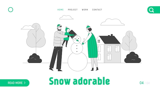 Happy family of mother father and baby making snowman landing page