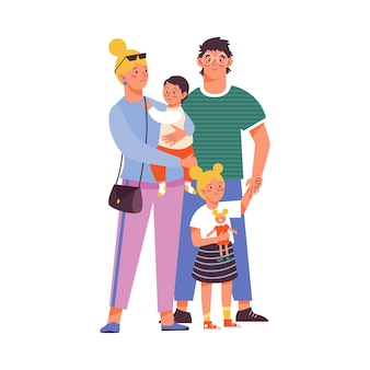 Happy family of mother father and children flat vector illustration isolated