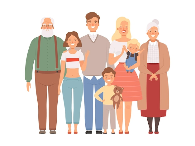 행복한 가족. 어머니 아버지 아이와 함께 큰 가족 초상화 서 조부모. 프리미엄 벡터