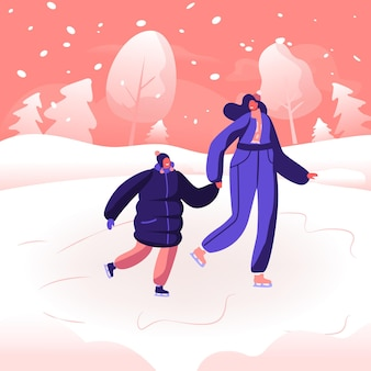 Happy family of mother and little daughter hold hands spend time together in snowy park. cartoon flat  illustration