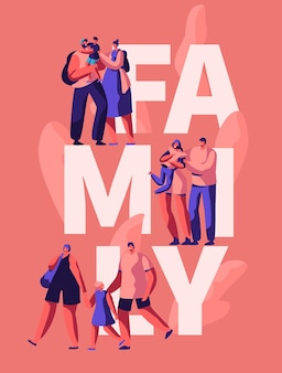 Happy family motivation typography banner. son mother and dad character on greeting poster. parent hug kid on advertising card template. holiday vertical leaflet flat cartoon vector illustration