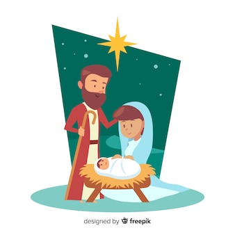 Happy family nativity background