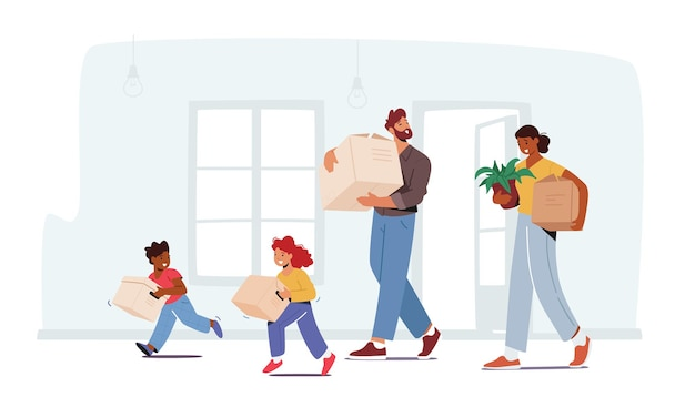 Happy family in new house, mom, dad and kids characters carry things and cardboard boxes. relocation to own apartment, mortgage, moving to new home concept. cartoon people vector illustration
