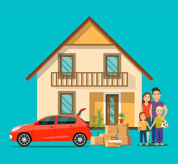 Happy family and new housethings iin the box next to the trunk of the carvector flat illustration