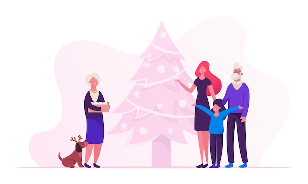 행복한 가족 새해 및 크리스마스 준비. 만화 평면 그림