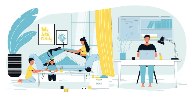 Счастливая семья родителей-фрилансеров, работающих в домашнем офисе, интерьер квартиры, рабочее пространство