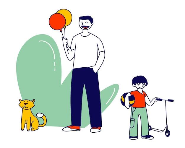 アウトドアを楽しんでいるお父さんと一緒に歩いている小さな陽気な男の子の幸せな家族。漫画フラットイラスト