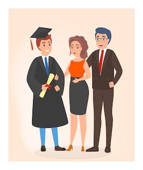 卒業式の日に幸せな家族。若い学生