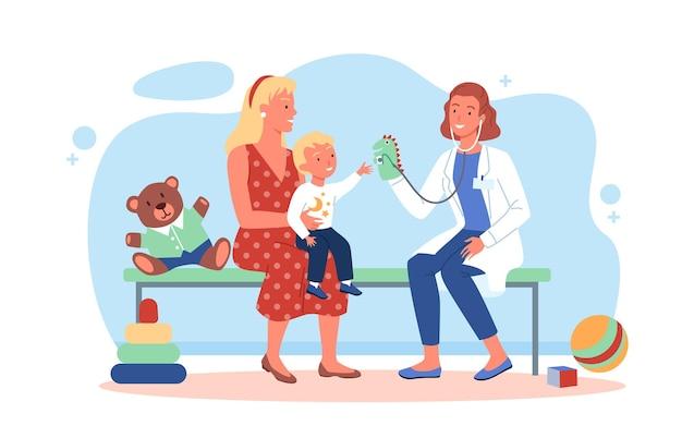 小児科医の健康診断のベクトル図で幸せな家族。一緒に遊んでいる漫画の医者の女性のキャラクターと子供の男の子の患者、白で隔離された病院で子供の健康を調べる医療小児科医