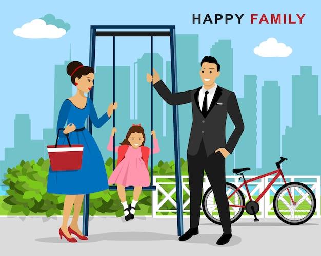 Счастливая семья на игровой площадке: мать и отец толкают смеющуюся дочь на качелях на детской площадке. плоский стиль иллюстрации