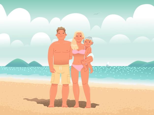 海沿いのビーチで幸せな家族お父さんのお母さんと息子は日光浴をして夏を楽しんでいます