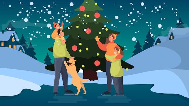 Счастливая семья на катке. зимнее катание на коньках, активный отдых на природе. люди у елки с детьми. иллюстрация