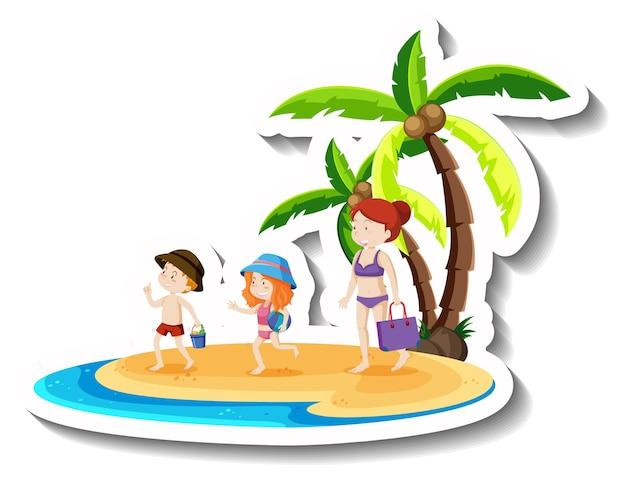 해변에서 휴가를 보내는 행복한 가족