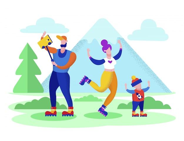 Счастливая семья в отпуске проводит время в горах