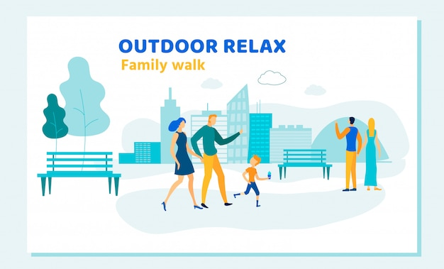 Happy family outdoor relax summer activity leisure