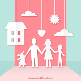 Happy family in paper art style