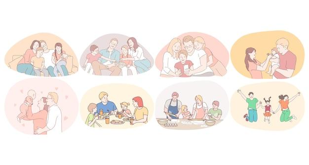 행복한 가족, 부모, 어린이 개념으로 시간을 즐기고 있습니다. 아이들과 젊은 행복한 가족