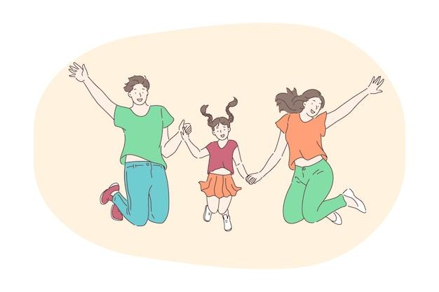 행복한 가족, 부모, 자녀 개념을 갖는.