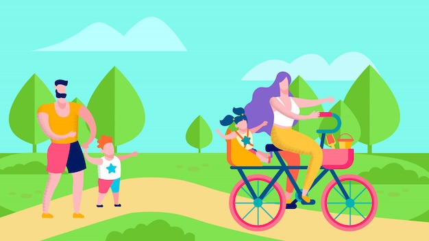 Happy family in park cartoon banner flat style