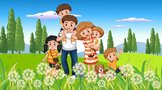 Happy family at the park