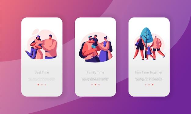 행복한 가족 사람들 모바일 앱 페이지 온보드 화면 세트. 아빠 엄마와 아들 캐릭터 관계. 부모와 아이가 함께. 부모 개념 웹 사이트 또는 웹 페이지. 플랫 만화 벡터 일러스트 레이션
