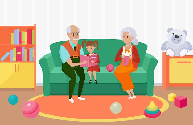 Happy family people read book together grandmother grandfather granddaughter reading