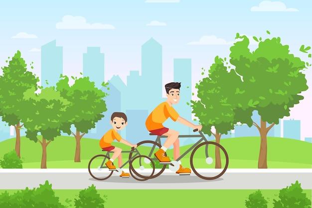 幸せな家族の人々は自転車スポーツベクトルイラストに乗る。自転車に乗る若い父と息子