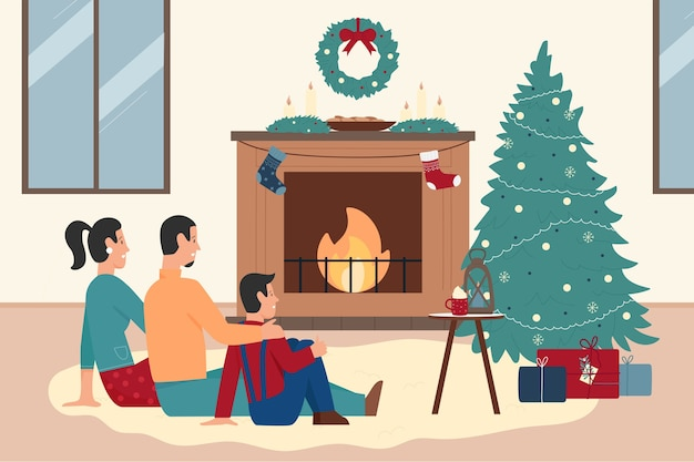 Happy family people sitting by xmas fireplace at home
