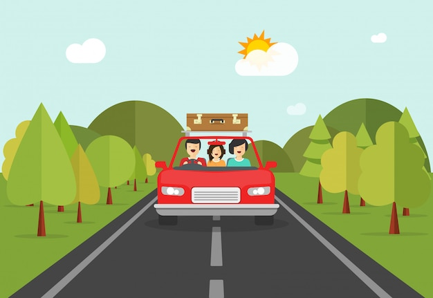 Happy family people trip travelling by car vector illustration